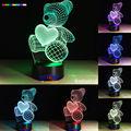 2016 Hot ursinhos carinhosos 7 cores 3D Luz Da Noite LEVOU Todas As Cores do Flash Por Sua Vez e presente para um amigo