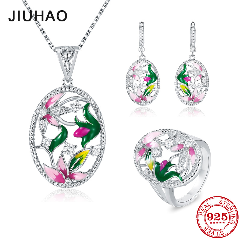 Flower Jewelry Set Pink Rose Jewelry enamel Rings Earrings Pendant 925 Sterling Silver Party Fashion for Women Accessories
