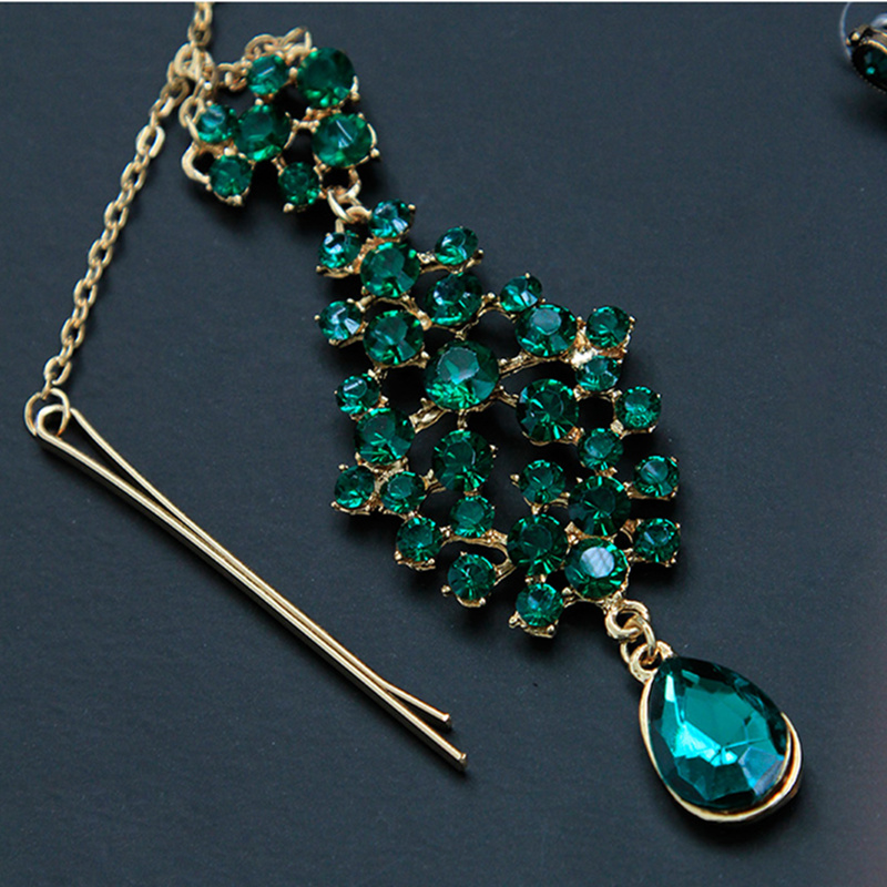 Women Belly Dance Bollywood Headpiece Earrings Gem Green Plated Jewelry Set Indian Dance Costume Accessories