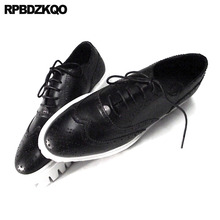 Oxfords Echtem Leder Creepers Frühling Männer Schuhe Handgemachte Casual Plattform Schwarz Große Größe Wingtip Brogue Luxus Deluxe Echt