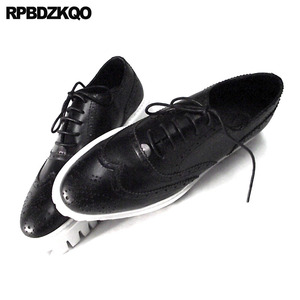 Image 1 - Oxfords Genuine Leather Creepers Spring Men Shoes Handmade Casual Platform Black Big Size Wingtip Brogue Luxury Deluxe Real