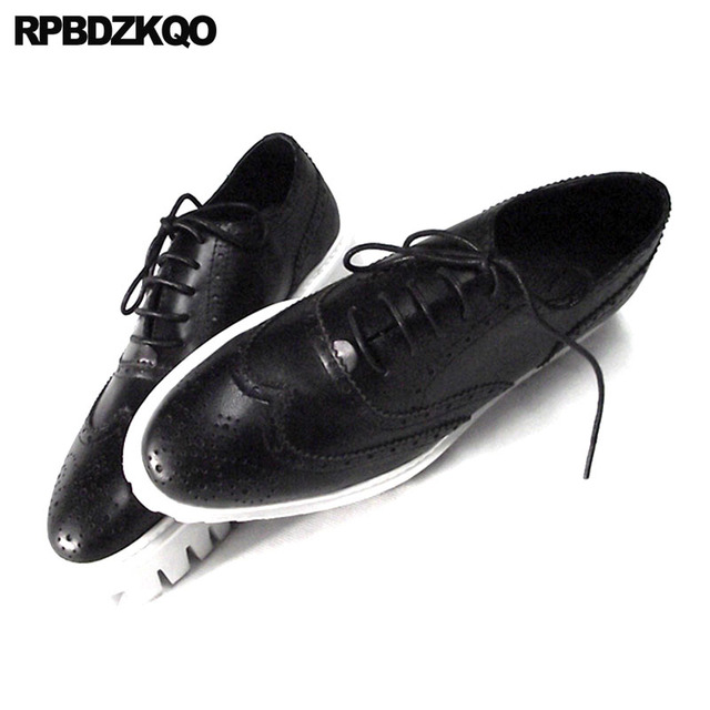 Oxfords Genuine Leather Creepers Spring Men Shoes Handmade Casual Platform Black Big Size Wingtip Brogue Luxury Deluxe Real