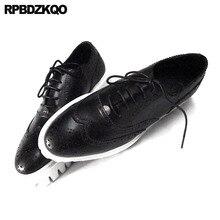 Oxfords couro genuíno creepers primavera sapatos masculinos feitos à mão plataforma casual preto grande tamanho wingtip brogue luxo luxo real
