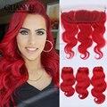 Новый Летний Стиль Бразильские Человеческие Волосы Темно-Красный 2/3/4 шт./лот получить Бесплатный 13*4 кружева Фронтальная Закрытие, чтобы Соответствовать вашего Комплекта