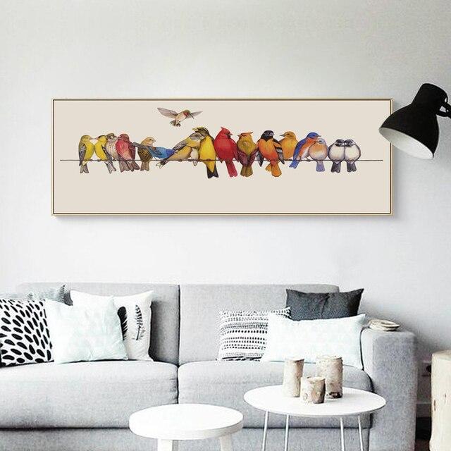 07G Vögel Auf Die Draht Banner Leinwand Kunst Malerei Druckplakat ...