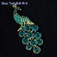 Women Jewelry Vintage Brooches Chic Animal Green Peafowl Peacock Brooch Pin 3.6″ Rhinestone Crystals 4781 Free Shipping