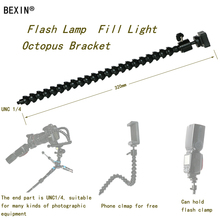 BEXIN Flexible Flash Clamp Bracket Support Adjustable Neck With 1/4 Screw camera flash bracket&Mini Ball Head for DSLR Camera