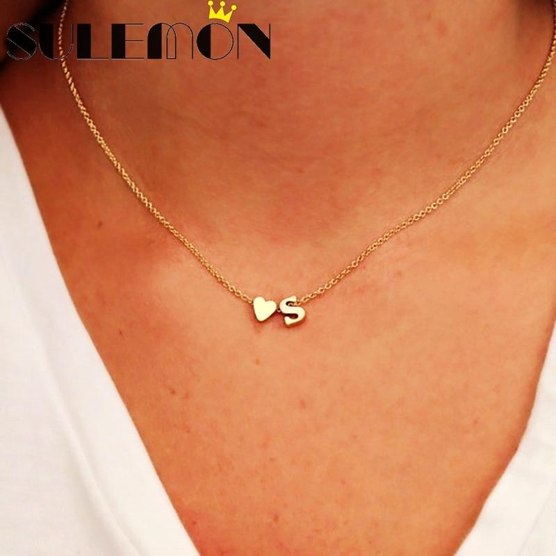 venta minorista e8f94 f8456 Moda personalizada letra inicial collar joyería para mujeres encanto  corazón colgante oro y plata delicado cadena fina 18