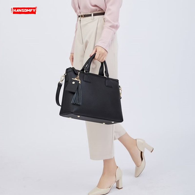New Genuine leather Women briefcase large capacity computer handbag business shoulder bag ladies laptop messenger crossbody bagsNew Genuine leather Women briefcase large capacity computer handbag business shoulder bag ladies laptop messenger crossbody bags