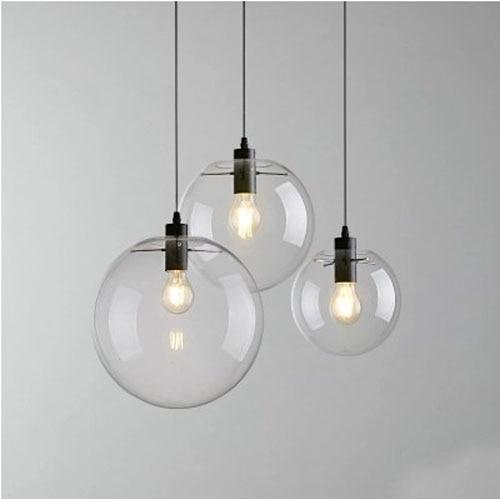 E27Nordic Pendant Lights Globe Chrome Lamp Glass Ball