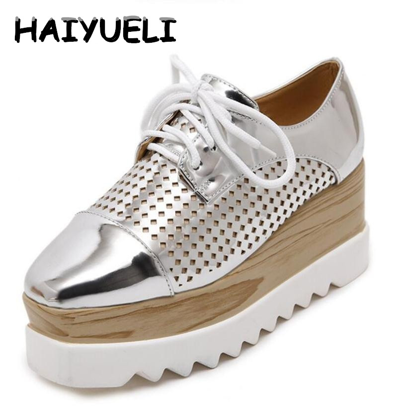 HAIYUELI Women Platform Shoes Oxfords Brogue PU Leather Flats Lace Up Shoes Creepers Vintage Hollow Light Soles Casual Shoes padegao brand spring women pu platform shoes woman brogue patent leather flats lace up footwear female casual shoes for women