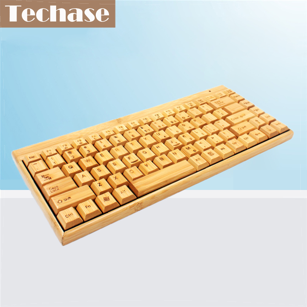 מקלדת קרום Techase Wireless Mini Slim Teclado Sem Fio נייד Kablosuz Klavye במבוק עיצוב מתאם USB למשחקי מחשב