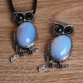 Antique Silver Plated Owl Necklace Pendants with Synthetic Opal Stone for Fashion Necklaces & Pendants DIY Jewerly Making