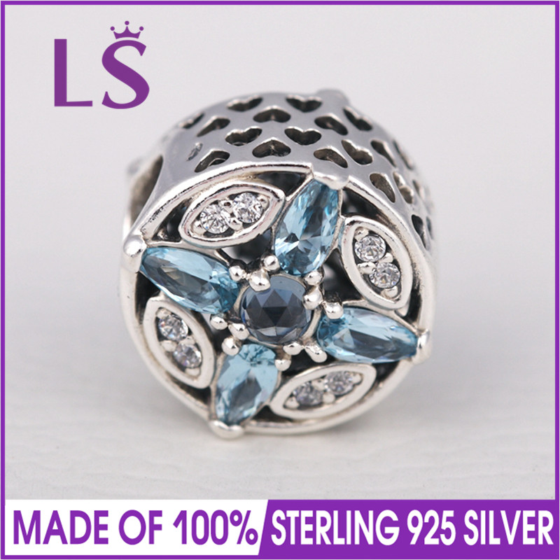LS High Quality 925 Silver Patterns of Frost Multicolored Charm Beads Fit Original Bracelets Pulseira Encantos.Real Fine Jewlery