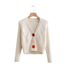 Spring Open Stitch Knitted Women Sweaters Wild Button V-Neck Coat Long Sleeve Tops Ladies Fashion Outwear