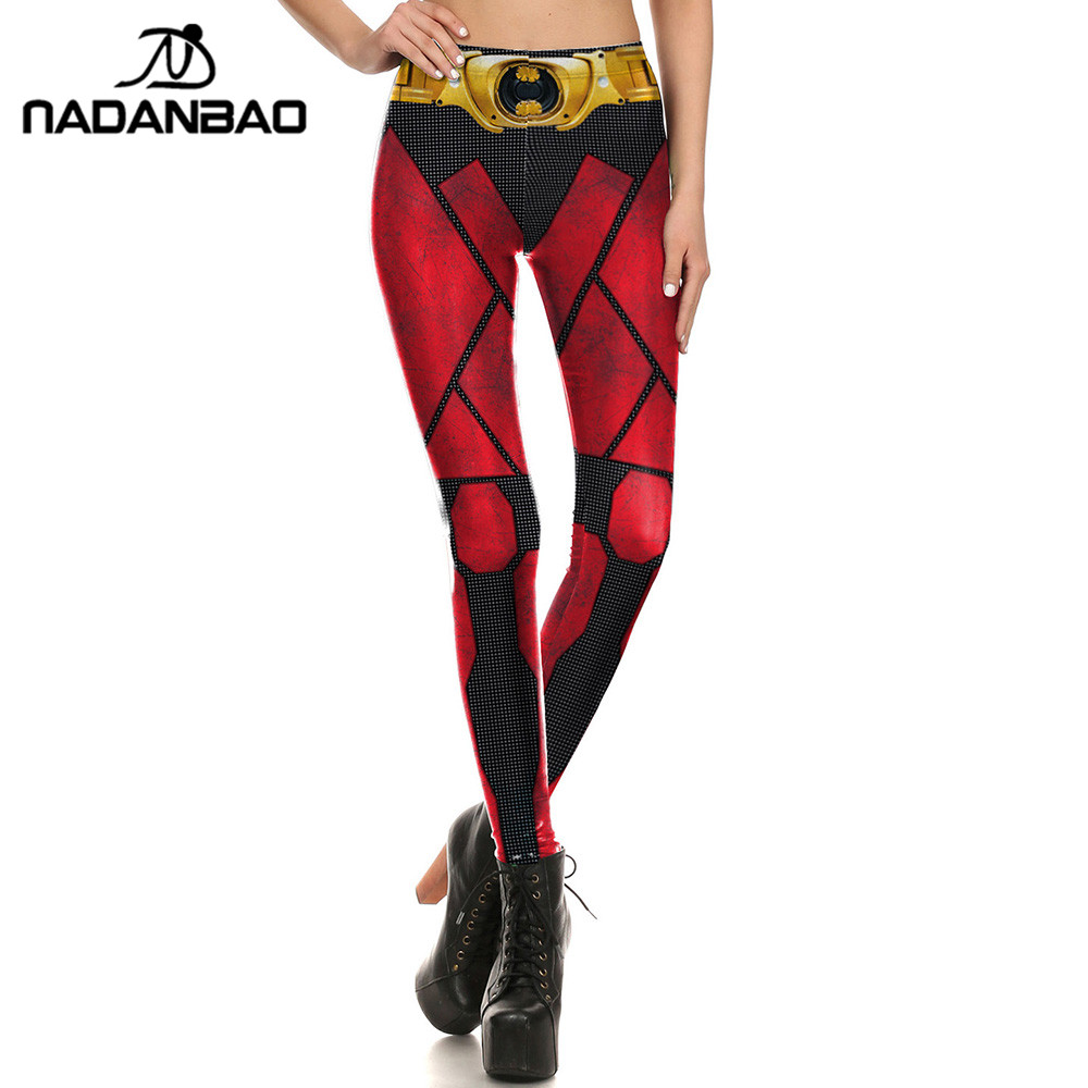 NADANBAO New Arrival Women Leggings Digital Print Golden Metal Belt Pattern Fitness Leggins Ripple Workout Plus Size Legging