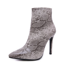 KATELVADI Boots Women PU Leather Shoes For Winter Woman 11CM Snake Pattern Party Zip Fashion Ankle K-466