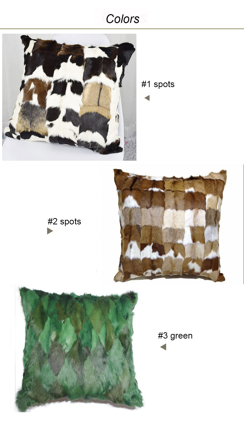 natural goat fur pillow case colorss