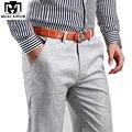 Plus Size 38 Novos 2017 Homens Verão Calças de Linho de Algodão Calças Casuais, Respirável, calças dos homens de Alta Qualidade