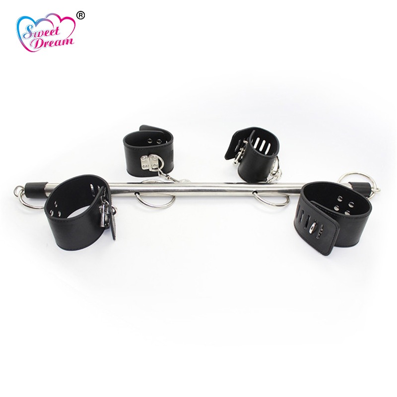 Sweet Dream PU Leather Fetish BDSM Bondage Stainless Steel Slave Handcuffs Ankle Cuffs Wrist Feet Sex Toys for Couples DW-113 цена