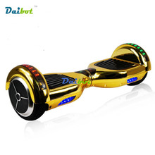 6 5 inch Chrome Gold Two Wheels Bluetooth Hoverboard LED Lights Electric Scooters Self Balancing Scooter