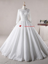 2013  a-line winter organza scoop appliques wedding dresses full sleeves online store jj126 abito da sposa