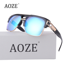 AOZE Classic Square Sunglasses Men Brand Designer Oversized Sun Glasses Gold Male Female Superstar D6626