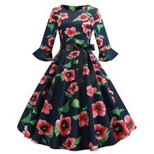 Film speed sell pass hot style Hepburn wind restoring ancient ways is printed in the sleeve splicing dress sends ribbons