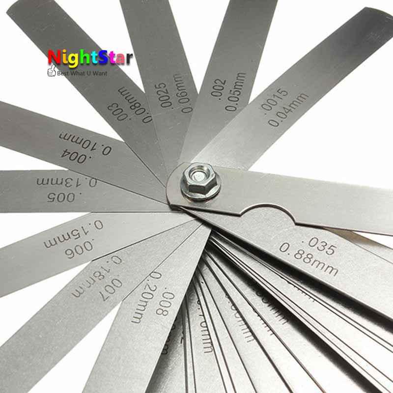 32 лезвия метрики Толщина Gage Набор толкатель Клапан щупа Измерительные приборы/метрика с латунь диапазон измерения 0.02 мм- 1.00 мм