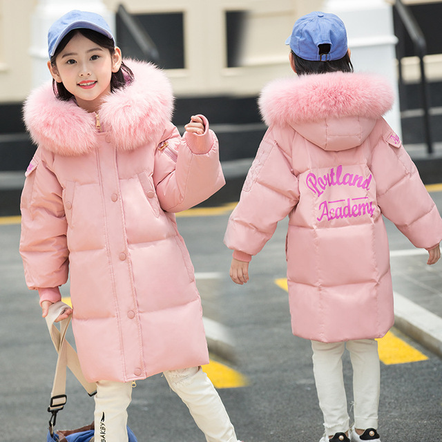 2018 Girl clothes winter down Jacket Kids Warm Thicken Hooded Big fur collar parka Coats Outwear -30 degrees girls Long clothing