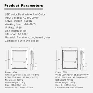 Image 2 - Proyector LED inteligente para exteriores luz IP65 impermeable ZIGBEE, con conexión de CA, 110V, 220V, funciona con Echo, 30W, 60W, RGBCCT, Bombilla LED para lámpara