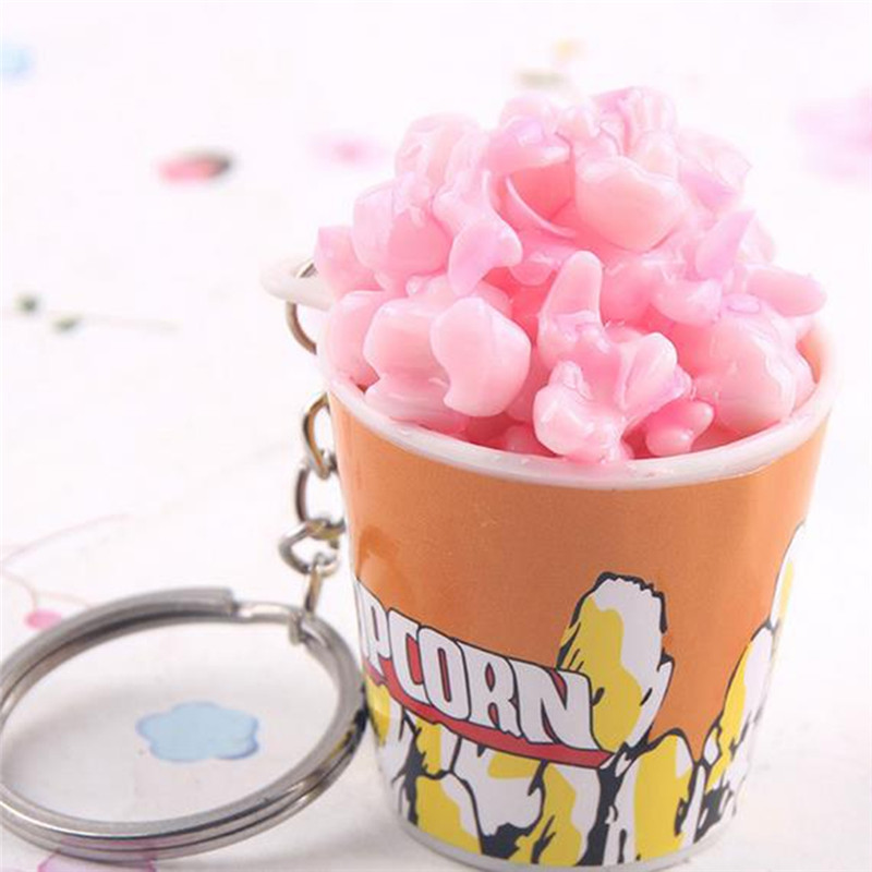 1PC Alloy Resin Simulation Food Popcorn Model Keyring Cartoon Multiple Color Trendy Style Keychain For Women Girls