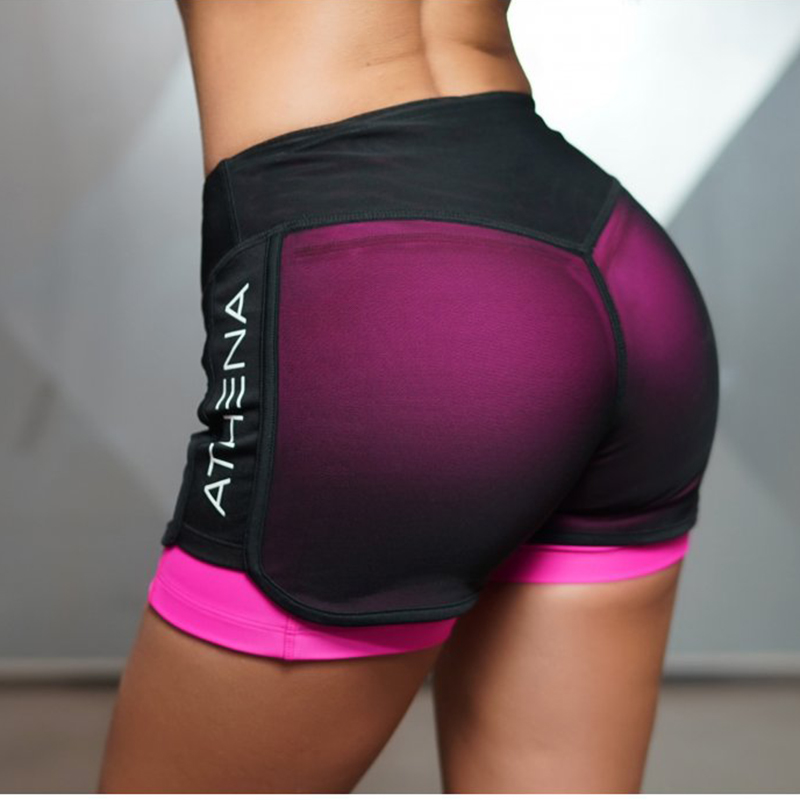 -Womens-2-in-1-kit-Fitness-shorts-Sexy-Cardio-Short-Black-Mesh-Overlay-Perfect-Ladies