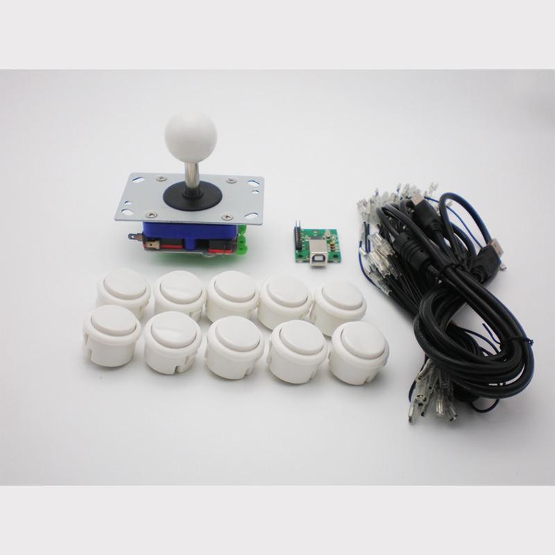 Arkadiniai DIY dalių komplektai su vieno žaidėjo USB Enocder 10 vnt. Mygtukais 1vnt zippy vairasvirtė su trumpu velenu Arkadiniams žaidimams