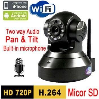 ip camera Micro SD P2P Plug and Play 720P MegaPixel HD Wireless IP Camera with Pan/Tilt SD Card IR Cut 720p wifi H.264 balck