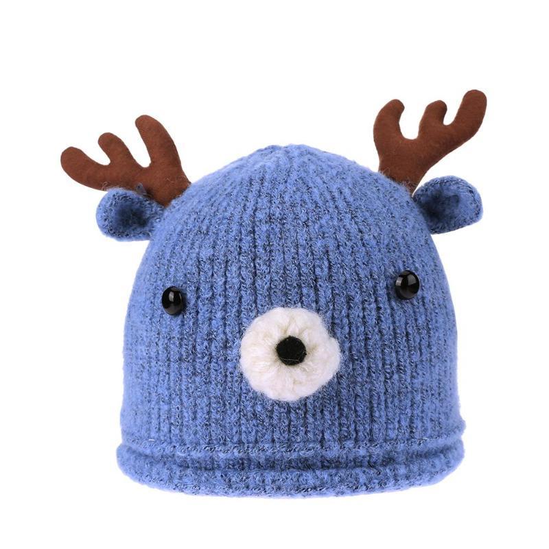 Christmas Reindeer Baby Girls Boys Beanie Knitted Hat Warm Crochet Winter Hat US