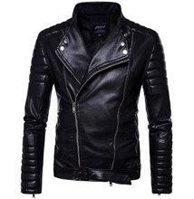 New Motorcycle Jackets Men PU Leather Jacket Vintage Retro Zipper Belt Design Biker Punk Classical Windproof Moto Jacket