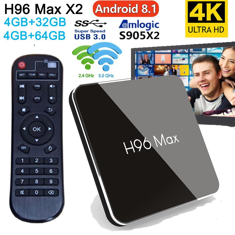 H96 Max X2 boîtier de télévision androïde Amlogic S905X2 Quad Core cortex arm A53 DDR4 4 GB 32 GB/64 GB Soutien 2.4 g/5G Double WIFI 4 K H.265 Youtube