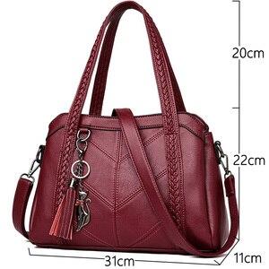 Image 2 - 패션 여성 가방 어깨 가방 여성 Tassel 럭셔리 핸드백 여성 가방 디자이너 sac 주요 브랜드 가죽 crossbody 가방