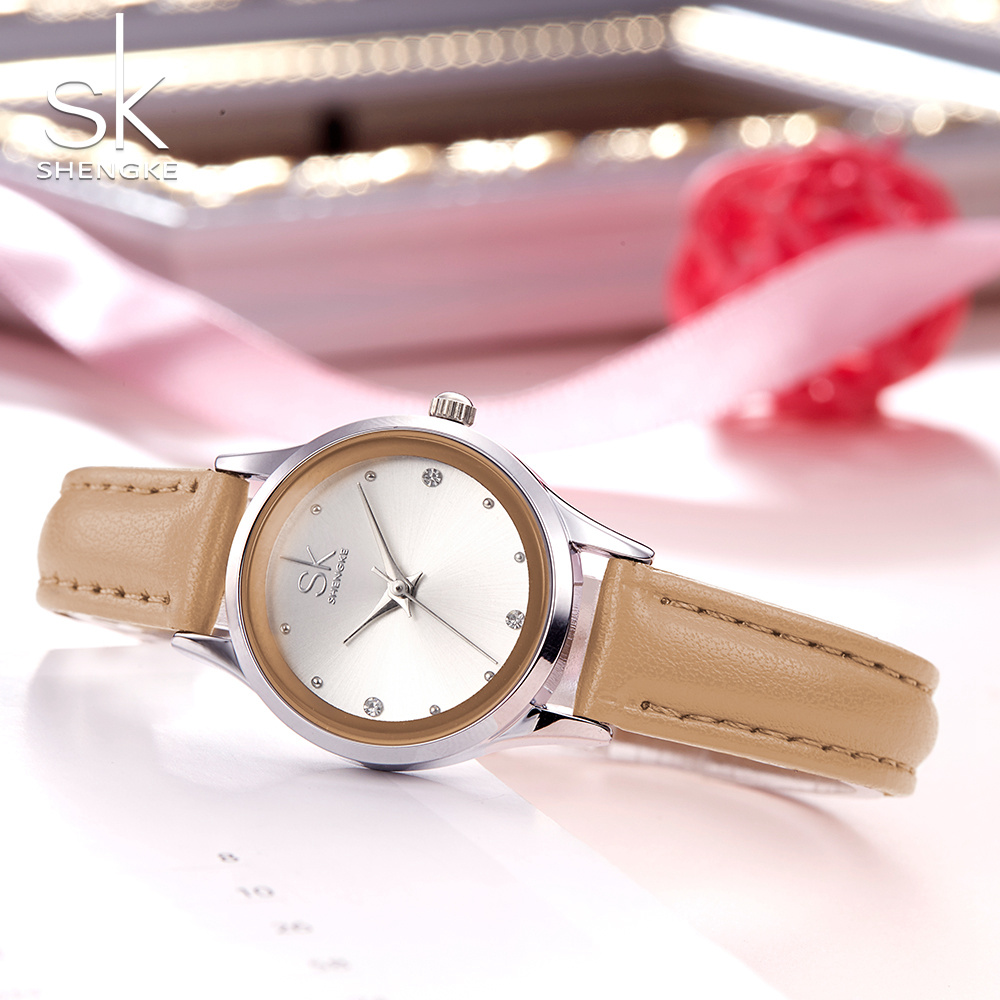 Shengke Brand Fashion Women Watches Leather Wrist Watches Ladies Casual Analog Silver Case Quartz Watch Relogio Feminino Gift SK women with silicone watches fashion women round dial quartz analog wrist watch casual coloful design girls gift branded ladies page page 3