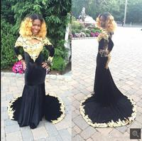 Sexy backless High Neck Velvet Black gold lace Prom Dresses Mermaid 2017 Court Train Appliques Long Sleeve Prom gowns