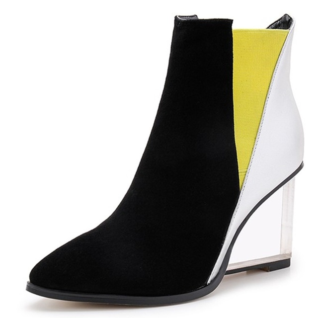 c8fffa92d51 Mixed Colors Spring Autumn heel height 8cm Wedges boots Pointed Toe Slip-On  woman dress shoes Ankle boots