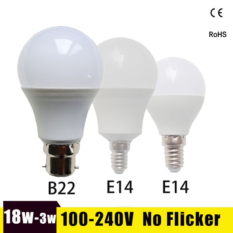 Bombilla Led E14 LED Bulb 220V 110V 3W 5W 7W 9W 12W 15W 18W B22 SMD2835 LED Light Bulb For Living Room Real Power Led Lamp