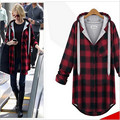 Women Plus Size Autumn Winter Red Plaid Shirt Female 2016 Cotton Long Sleeve Large Size Tops Clothing Hooded XL-XXXXL
