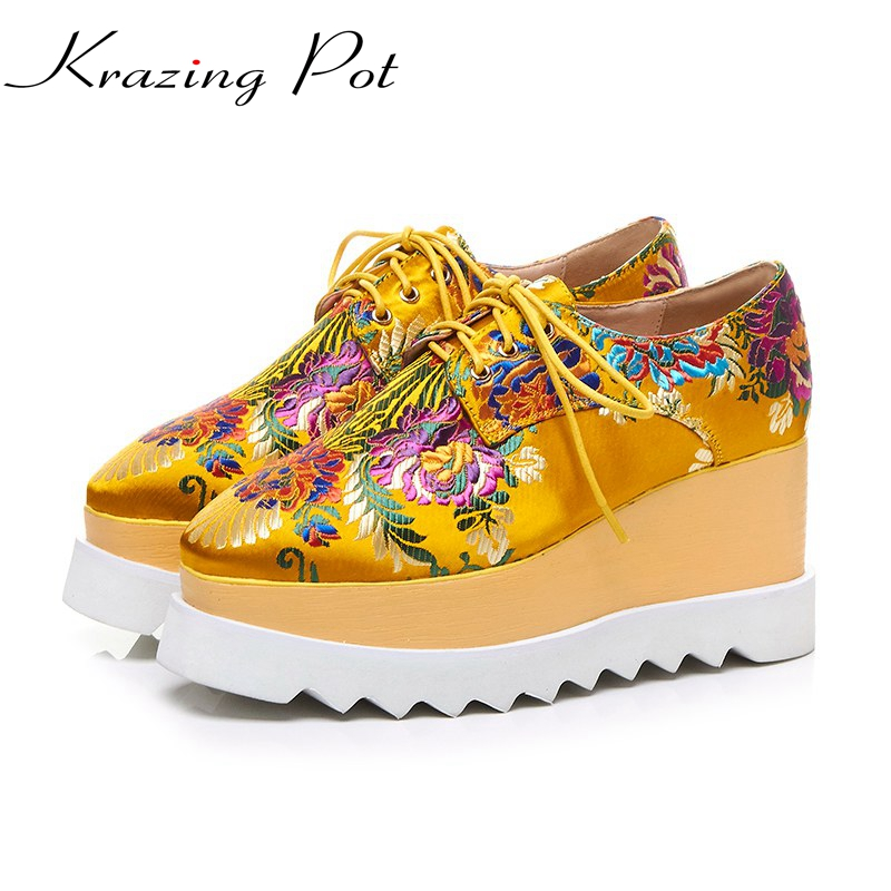 Krazing Pot silk fashion brand shoes genuine leather lace up square toe embroidery wedge high heel women Chinese style shoes L22 women ultrathin lace top sheer thigh high silk stockings fashion style new gh