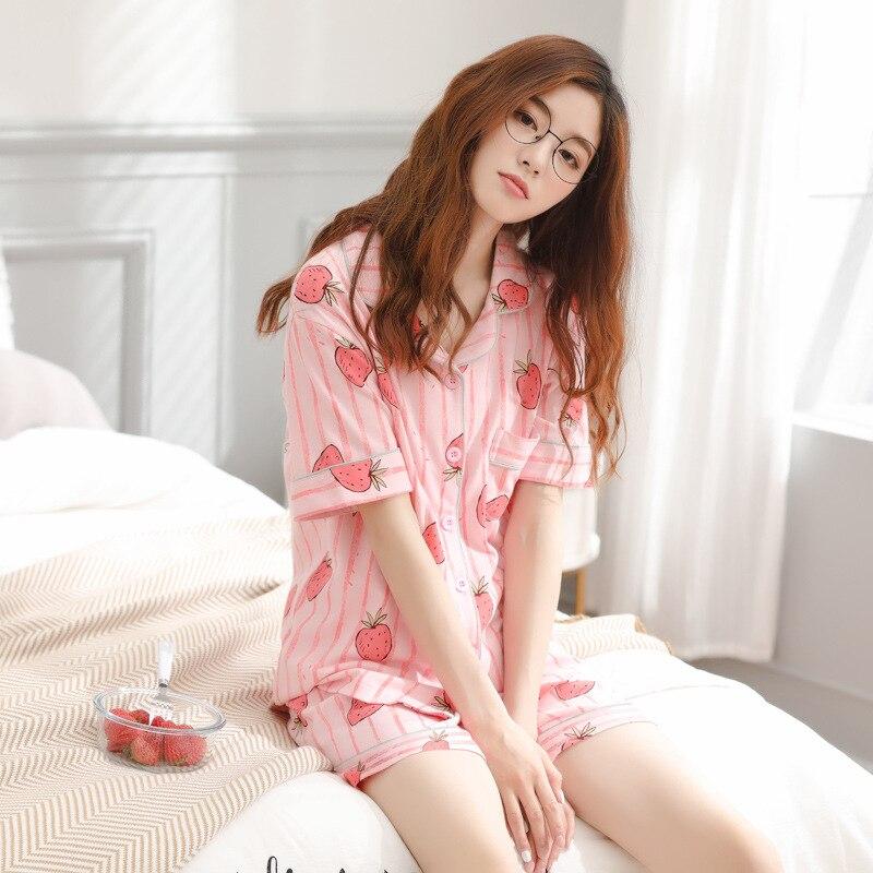 Women   pajamas   ladies new cotton strip   pajamas   summer short sleeve shorts cardigan students 2019 women   pajama     sets   womens   pajamas