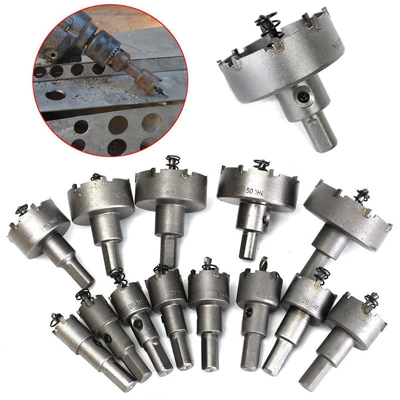 ФОТО 13pcs Carbide Tip TCT Drill Bit Hole Set Stainless Steel Alloy Cutter Tools 16mm-53mm