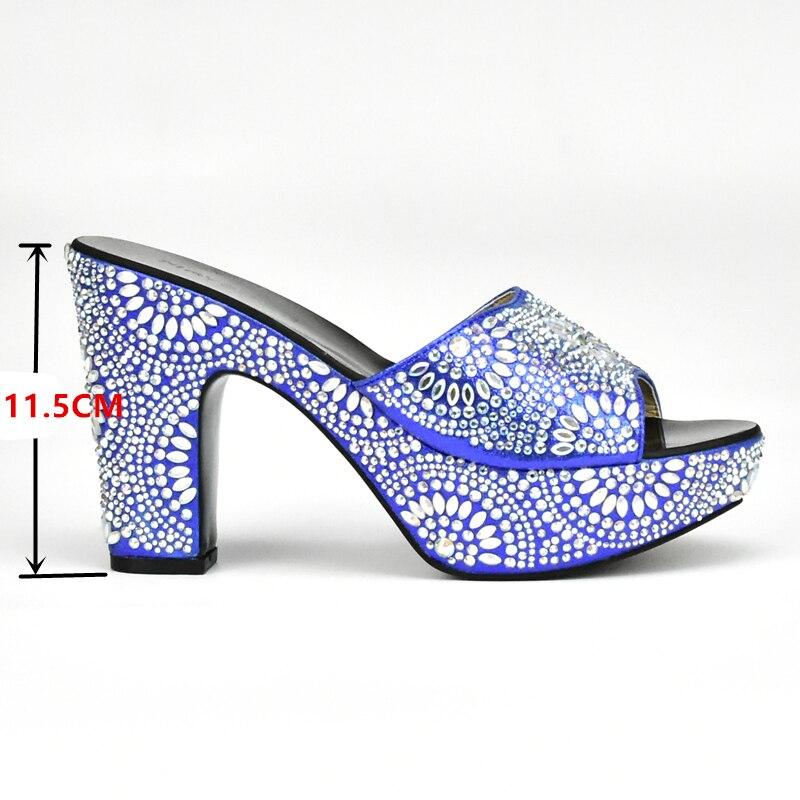 Hochzeit Blau grün Italienische Neueste Farbe Mit Für Nigerian blau Strass Frauen Verziert Schwarzes rot Schuhe gold Afrikanische silber gelb qE4dWd