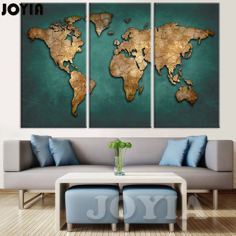 Aliexpress Buy World Map Wall Painting Canvas Art Large Abstract Maps Forum Dark Green Earth Plate Poster Print For Home Office No Frame From