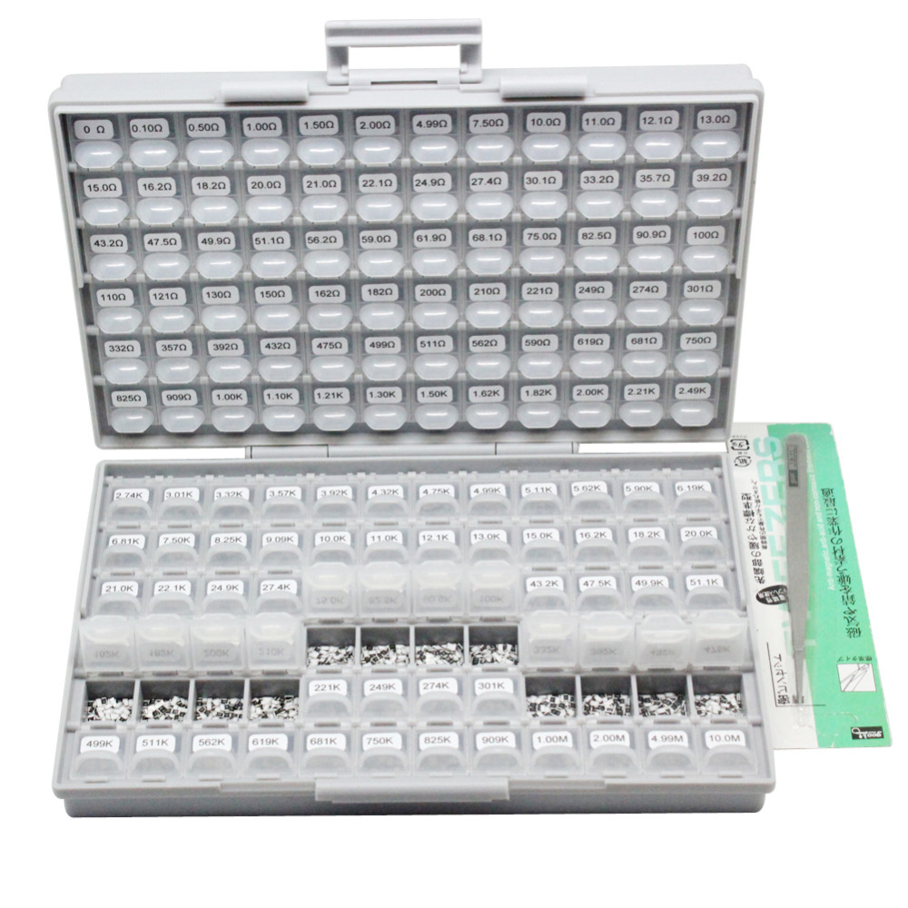 AideTek SMD SMT1206 1% resistor kit E96 144 value X100pc14400pcs BOX-ALL10Mresistor storage box plastic part box lablesR12E24100 aidetek 2 units of smd resistor capacitor electronics storage cases